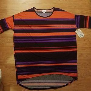 Lularoe Irma Tunic Purple Black Orange stripes